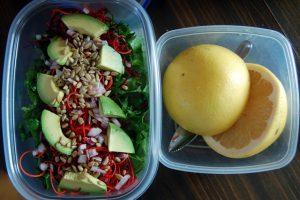 salad and grapefruit